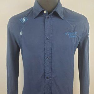 Diesel Casual Pearl Snap Blue Western Shirt Size L